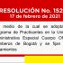 Resolución No. 152 DE 2021